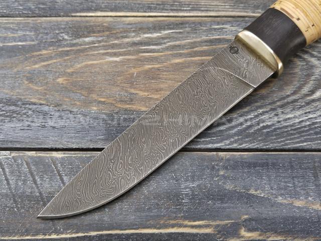 """Нож """"Клык"""" Дамаск, наборная береста"""