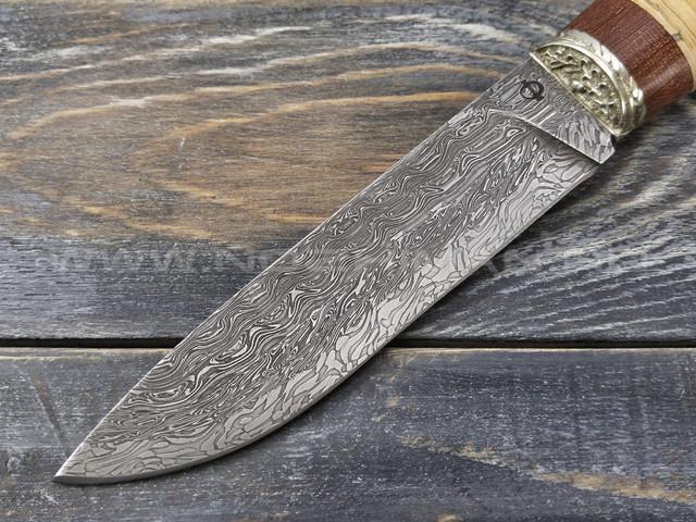 """Нож """"Клык"""" Дамаск, наборная береста (2)"""