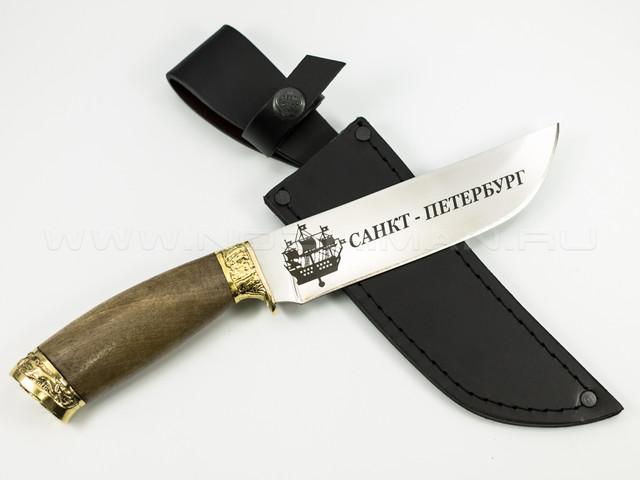 """Нож """"Охотник"""" 65Х13, латунь, СПб"""