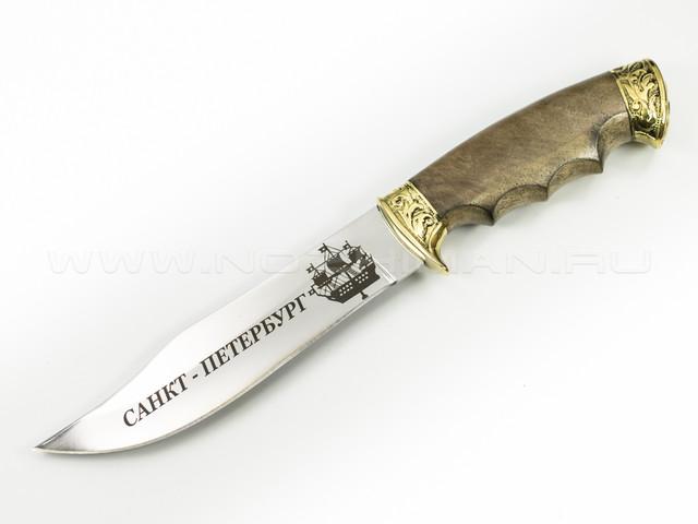 """Нож """"Акула"""" 65Х13, латунь, СПб"""
