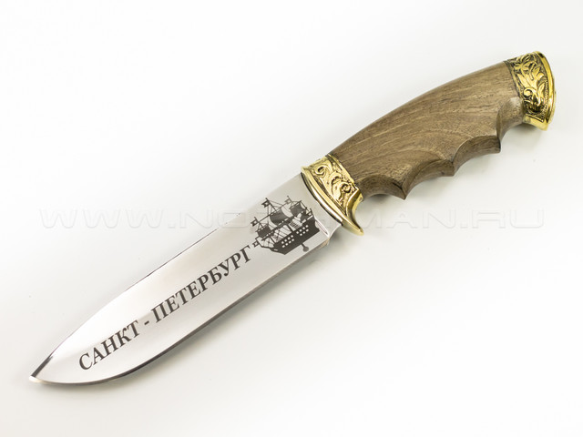 """Нож """"Перо"""" 65Х13, латунь, СПб"""