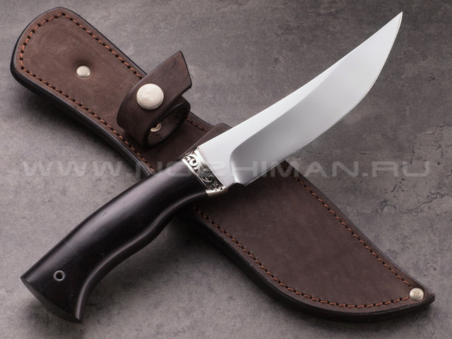 "Нож ""Клык"" сталь 95Х18, рукоять черный граб, мельхиор (2)"