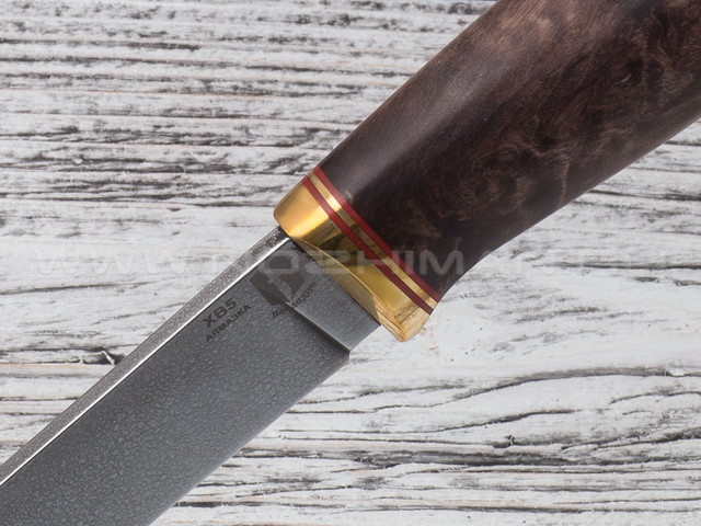 "Нож ""Ладья"" сталь ХВ5, рукоять стаб. карельская береза, латунь"