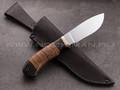 """Нож """"Аврора"""" сталь K340, рукоять наборная береста, мореный дуб, латунь"""