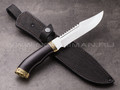 "Нож ""Рэкс"" сталь 95Х18, рукоять черный граб, латунь (8)"
