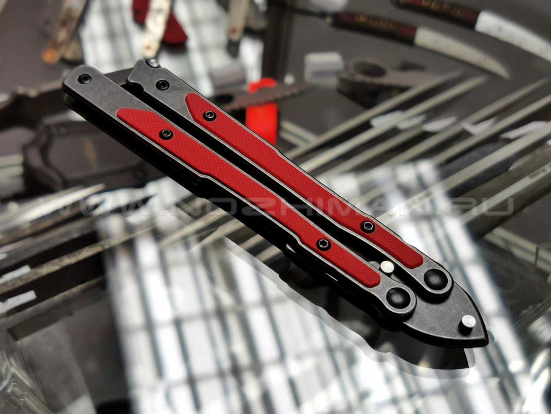 Mr.Blade балисонг Madcap сталь 8Cr14 blackwash, рукоять G10 red