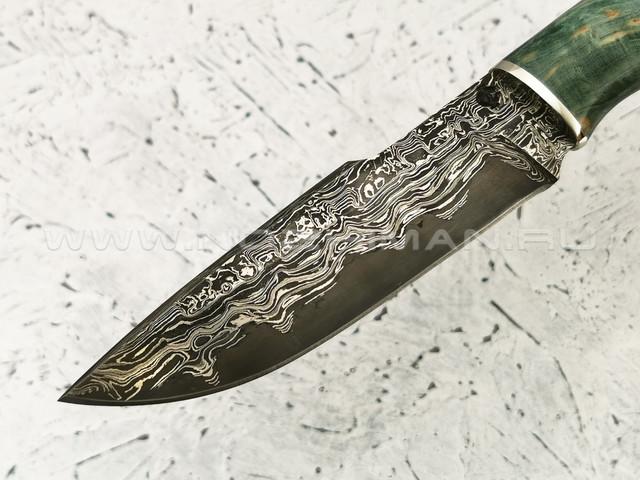 """Нож """"Фартовый"""" дамасская сталь, карельская береза, мельхиор (Федотов А. В.) 102М45"""