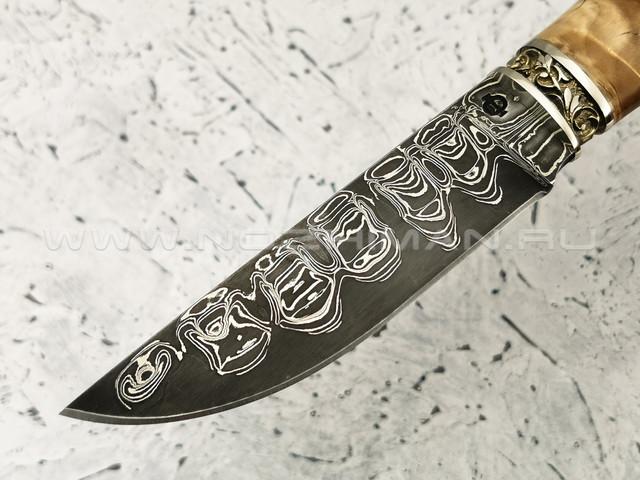 """Нож """"Клык"""" дамасская сталь, березовый сувель, мельхиор (Федотов А. В.) 011М46"""