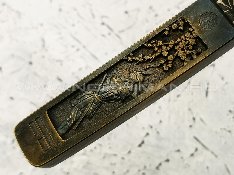 """Нож """"Клык"""" дамасская сталь, рукоять титан (Федотов А. В.) 011Д383"""