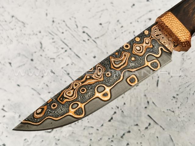 """Нож """"Клык"""" дамасская сталь, рукоять ironwood и бронза (Федотов А. В.) 011М23"""