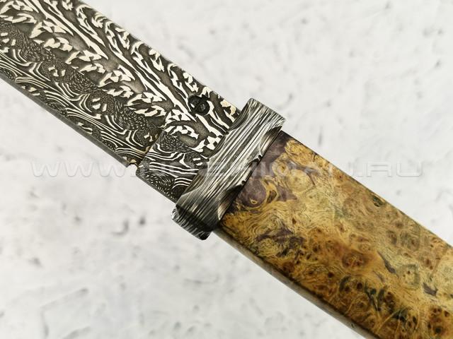 """Нож """"Японский"""" дамасская сталь, кап клёна (Федотов А. В.) 035Д68"""