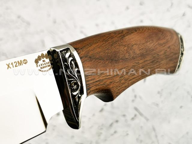 """Нож """"Волк"""" сталь Х12МФ, рукоять этимое, мельхиор (Тов. Завьялова)"""