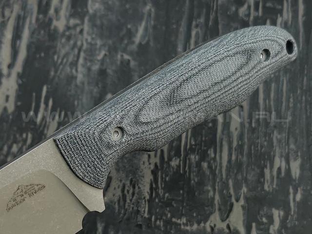 N.C.Custom нож Tracker сталь N690 stonewash, рукоять микарта, ножны кожа