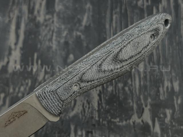 N.C.Custom нож Fry сталь N690 stonewash, рукоять микарта, ножны кожа