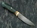 """Нож """"Скинер-М"""" булатная сталь, рукоять кап клёна, мокуме, зуб мамонта (Наследие)"""