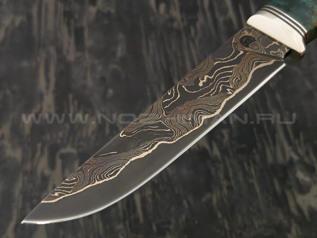 """Нож """"Ладья-2"""" дамасская сталь, рукоять карельская береза, мельхиор (Тов. Завьялова)"""