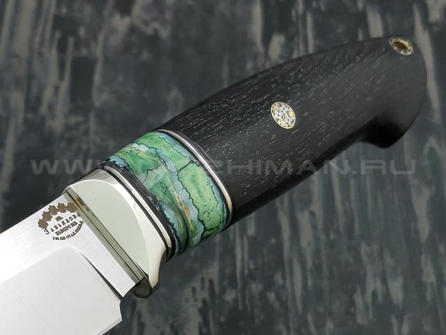 """Нож """"Фидель"""" сталь S390, рукоять эбен, зуб мамонта, мельхиор (Тов. Завьялова)"""