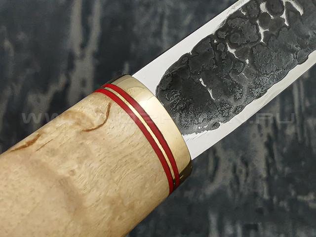 """Нож """"Якут"""" сталь Х12МФ, рукоять карельская береза, латунь (Тов. Завьялова)"""