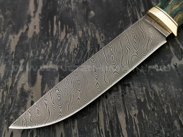 """Нож """"Ладья-2"""" дамасская сталь, рукоять карельская береза (Наследие)"""