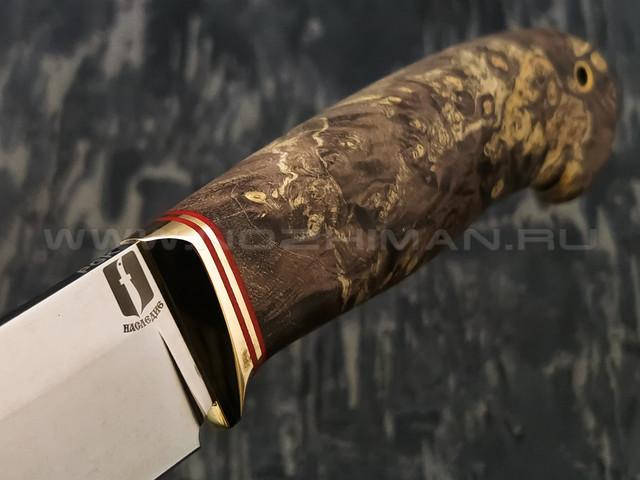 """Нож """"Олень"""" сталь PGK, рукоять кап клёна, латунь (Наследие)"""
