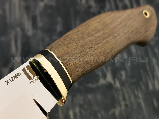 """Нож """"Млечный путь"""" сталь Х12МФ, рукоять дерево орех, латунь (Наследие)"""
