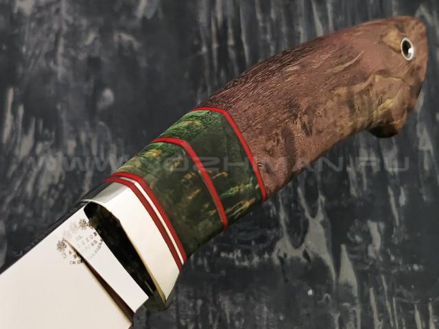 """Нож """"Скинер-М"""" сталь Vanadis 10, рукоять карельская береза, мельхиор (Тов. Завьялова)"""