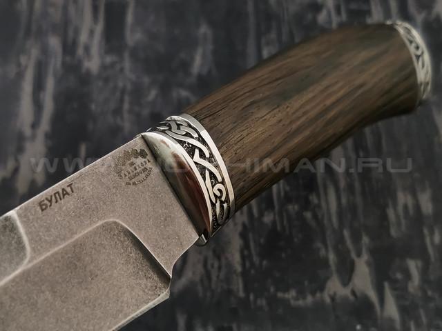 """Нож """"Путина"""" булатная сталь, рукоять морёный дуб, мельхиор (Тов. Завьялова)"""