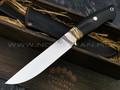 "Нож ""Ладья-2"" сталь CPM 121 Rex, рукоять эбен, зуб мамонта, мокуме гане (Тов. Завьялова)"