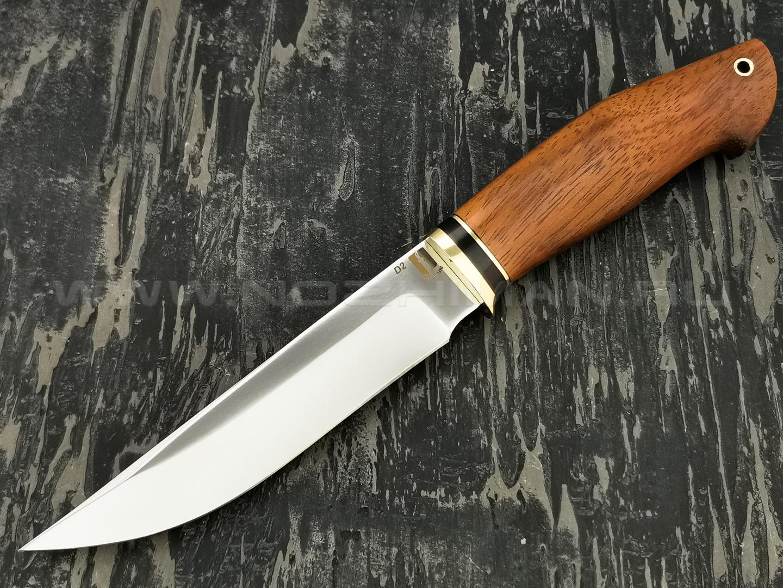 """Нож """"Граф"""" сталь D2, рукоять дерево бубинга, латунь (Наследие)"""