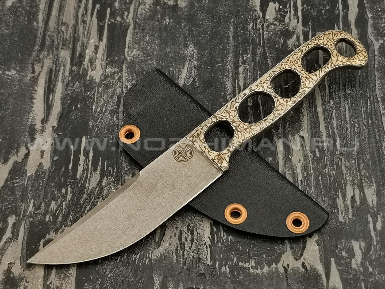 """1-й Цех нож """"Выживальщик"""" сталь K110, рукоять сталь, худ. травление с эмалью"""