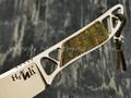 """1-й Цех нож """"Ножик"""" сталь N690, рукоять сталь, бронза с худ. травлением и эмалью"""
