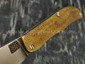 """1-й Цех нож """"Складень"""" сталь K110, рукоять бронза с худ. травлением, G10"""