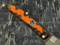 """1-й Цех нож """"Складень"""" сталь K110, рукоять бронза с худ. травлением и эмалью, микарта"""
