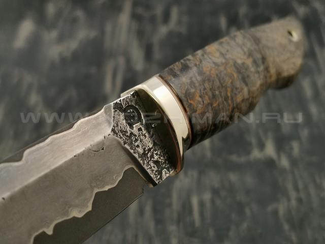 Нож НЛВ1 ламинированная сталь K340 рукоять стаб. карельская береза, мельхиор (Леонид Васильев)