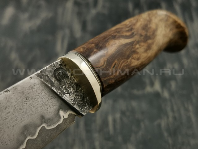 Нож НЛВ2 ламинированная сталь K340 рукоять стаб. карельская береза, мельхиор (Леонид Васильев)