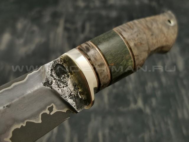Нож НЛВ3 ламинированная сталь K340 рукоять стаб. карельская береза, мельхиор (Леонид Васильев)