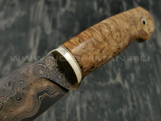 Нож НЛВ4 ламинированная сталь B400 рукоять стаб. карельская береза, мельхиор (Леонид Васильев)