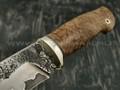 Нож НЛВ5 ламинированная сталь K340 рукоять стаб. карельская береза, мельхиор (Леонид Васильев)