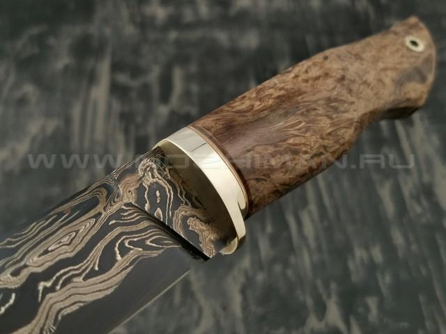 Нож НЛВ7 ламинированная сталь B400 рукоять стаб. карельская береза, мельхиор (Леонид Васильев)