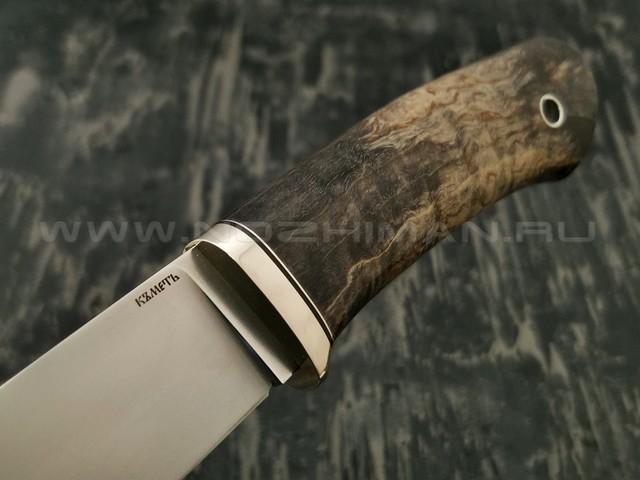 Кметъ нож Консул сталь N690 рукоять стаб. карельская береза, мельхиор