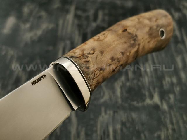 Кметъ нож Клык сталь PGK рукоять стаб. карельская береза, мельхиор