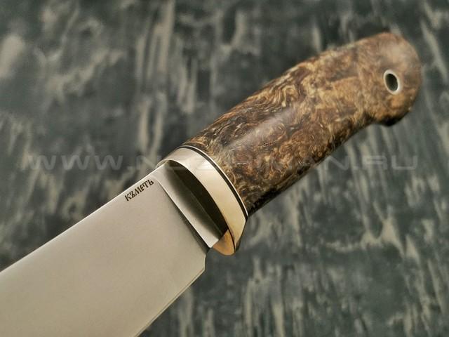 Кметъ нож Скинер сталь K340 рукоять стаб. карельская береза, мельхиор