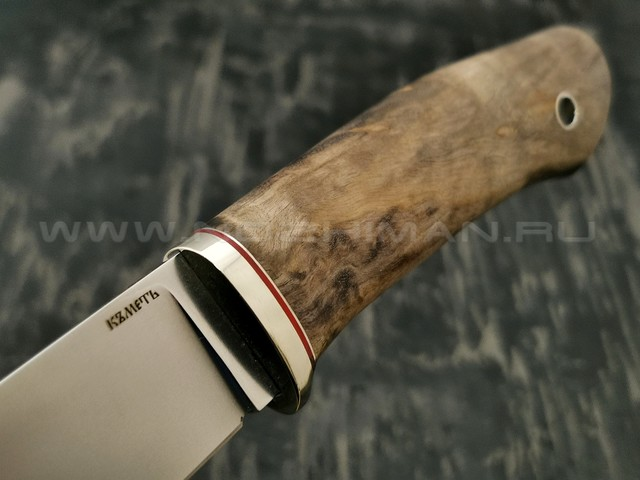 Кметъ нож Клык сталь Niolox рукоять стаб. карельская береза, мельхиор
