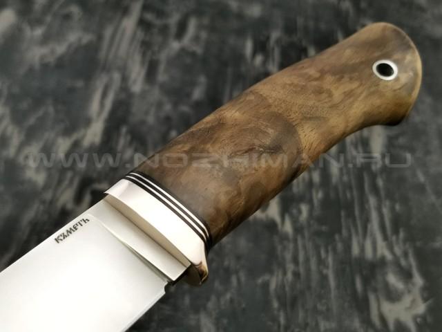 Кметъ нож Панцуй сталь CPM S90V рукоять стаб. корень дуба, мельхиор