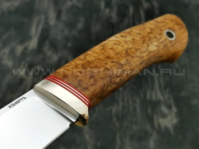 Кметъ нож Клык сталь K390 рукоять стаб. карельская береза, мельхиор