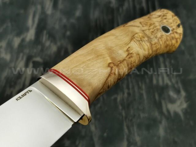 Кметъ нож Кроха сталь M390 рукоять стаб. карельская береза, мельхиор