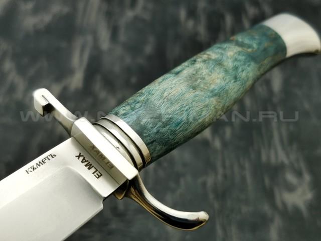 Кметъ нож Разведка-1 сталь Elmax рукоять стаб. карельская береза, мельхиор