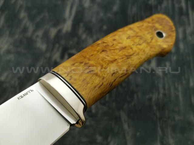 Кметъ нож Панцуй сталь CTS-XHP рукоять стаб. карельская береза, мельхиор