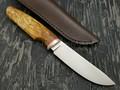 Кметъ нож Скинер сталь M390 рукоять стаб. берёзовый сувель, мельхиор