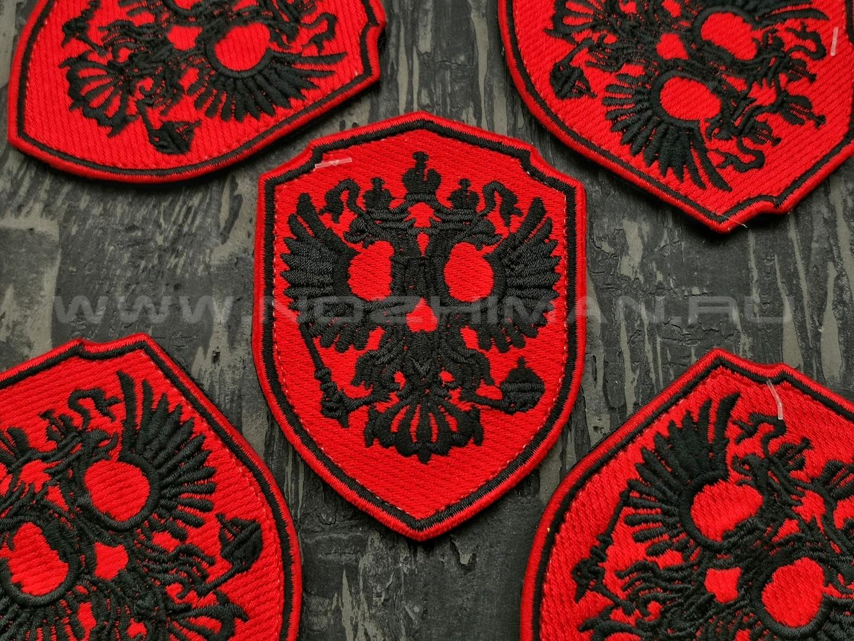 """Патч П-188 """"Череп - Герб России на щите"""" красный"""